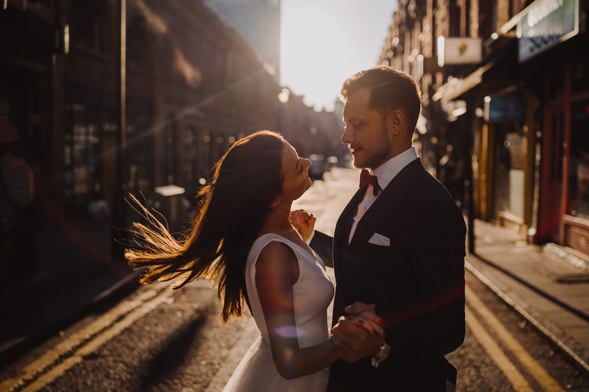 Street wedding photo shoot in London