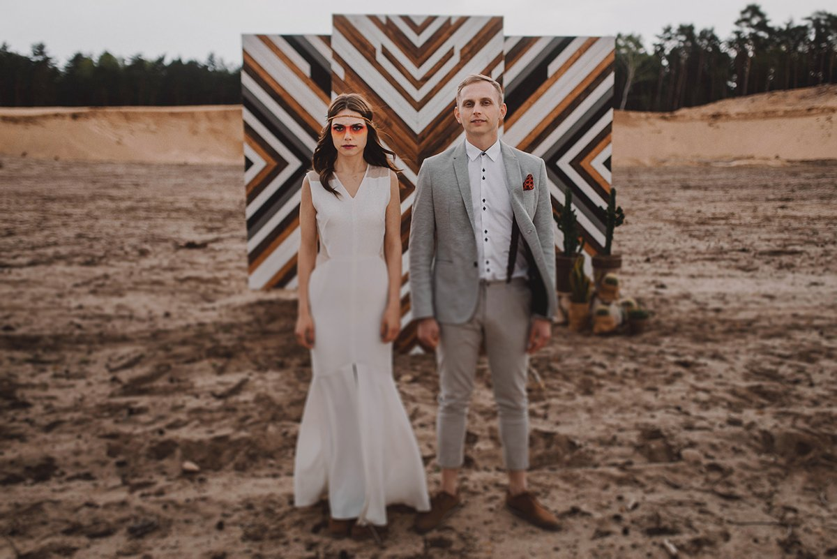 aztec engagement session in sand mine